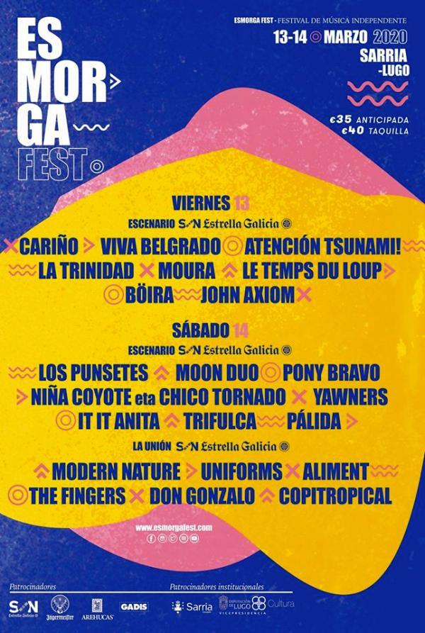 Cartel completo por días Esmorga Fest 2020 Sarria Lugo