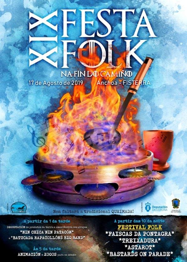 Cartel completo Festa Folk Na Fin do Camiño 2019