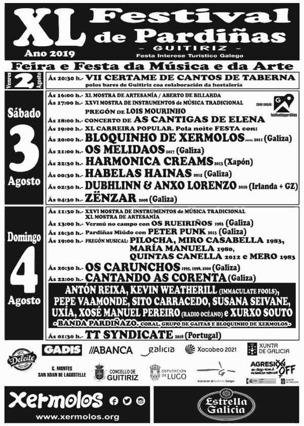 Cartel completo festival de Pardiñas 2019