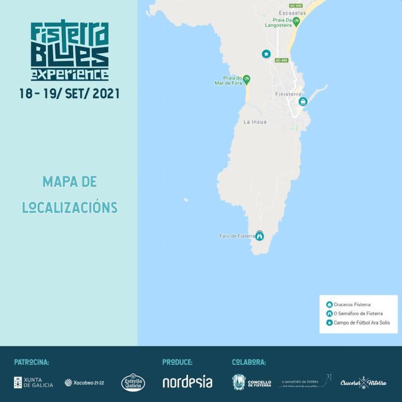 Mapa localizaciones Fisterra Blues