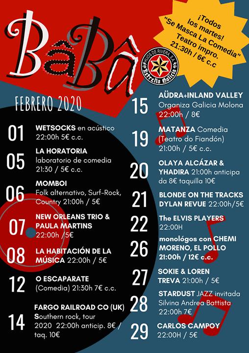 Programación febrero 2020 Baba Bar