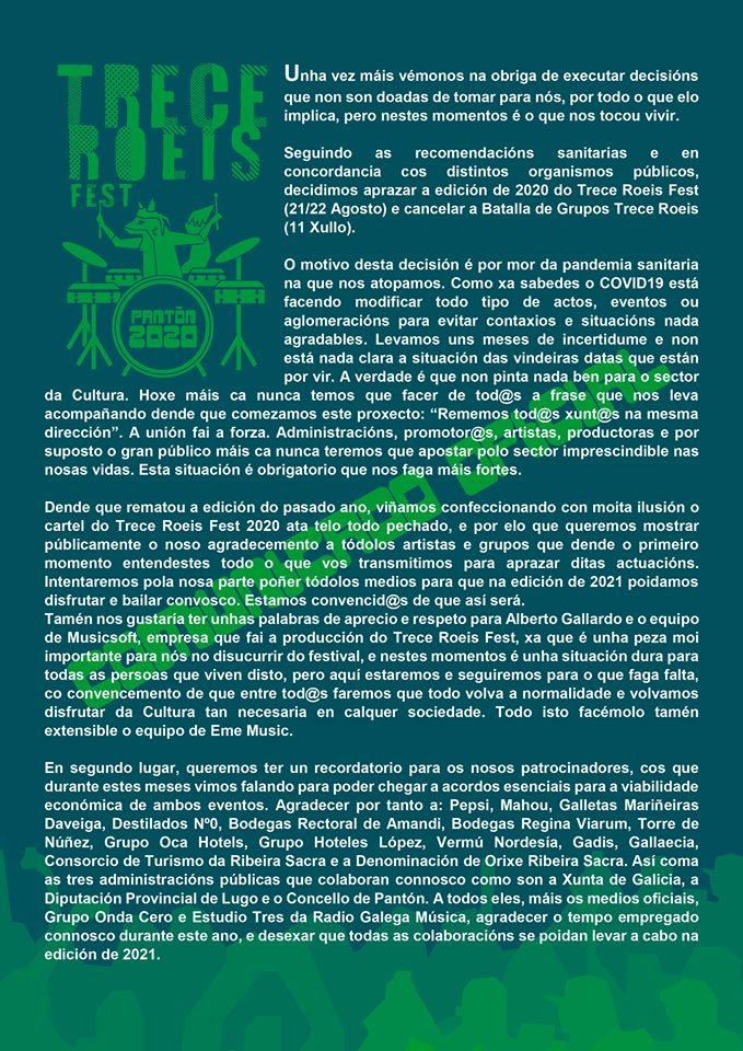 trece-roeis-aplazamiento-2020